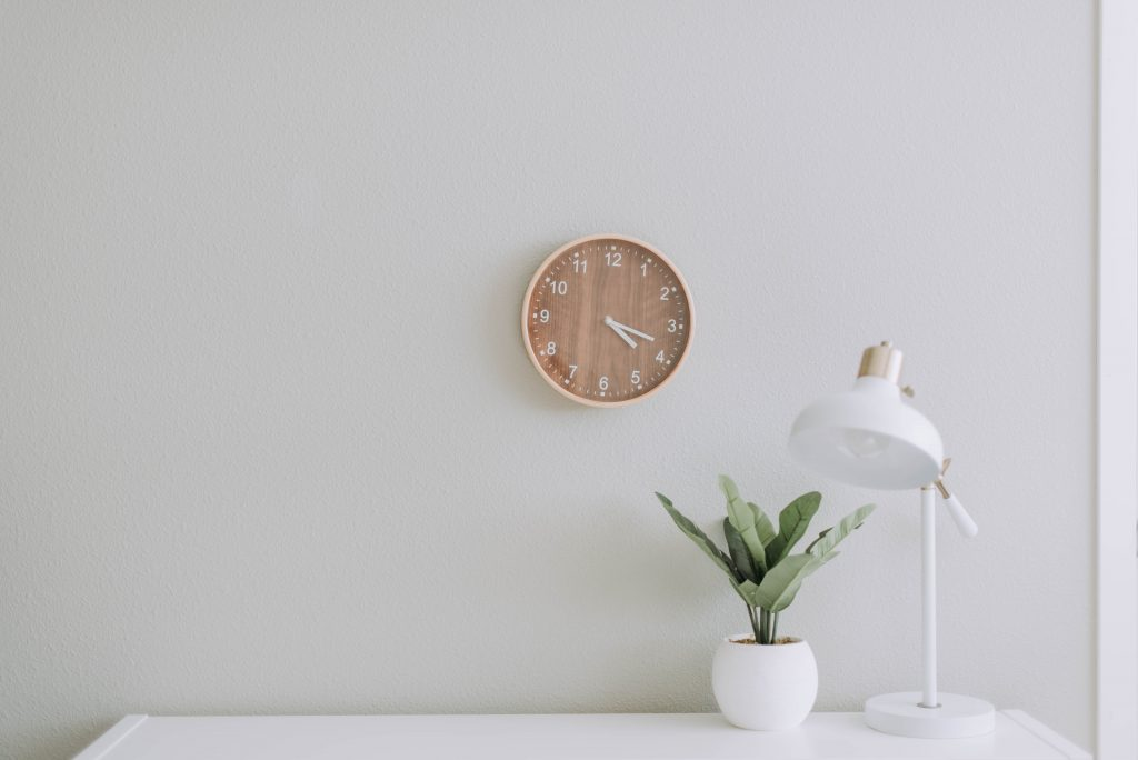 clock on wall for time management blog post