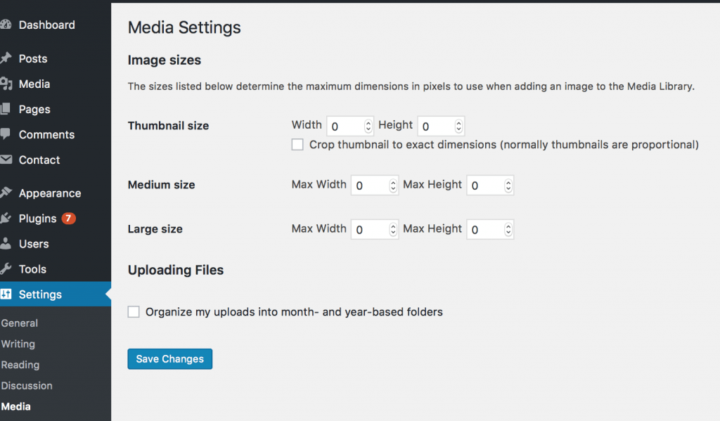 Website image sizes and screenshot of media library settings for image sizes