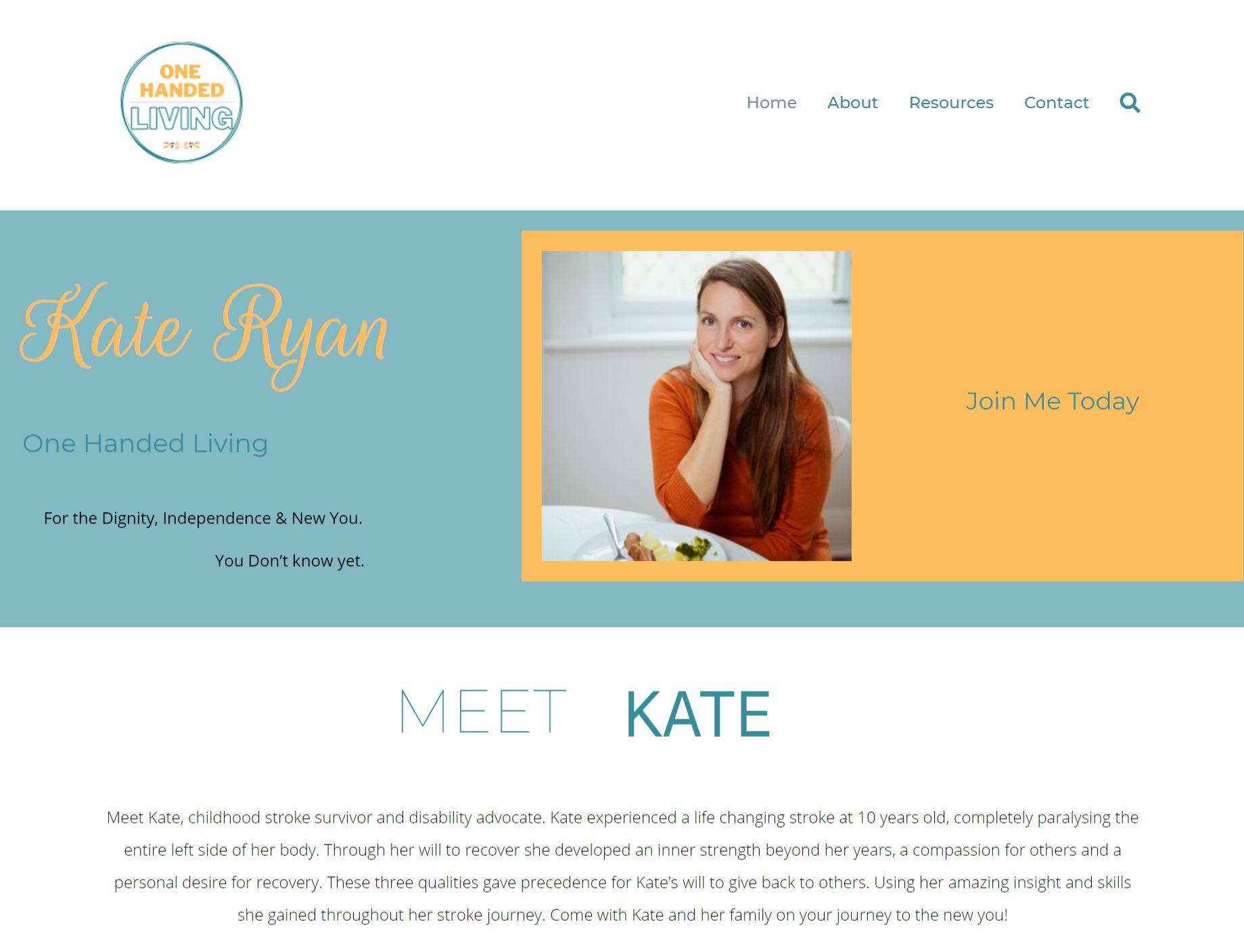 Kate Ryan Screenshot of homepage header