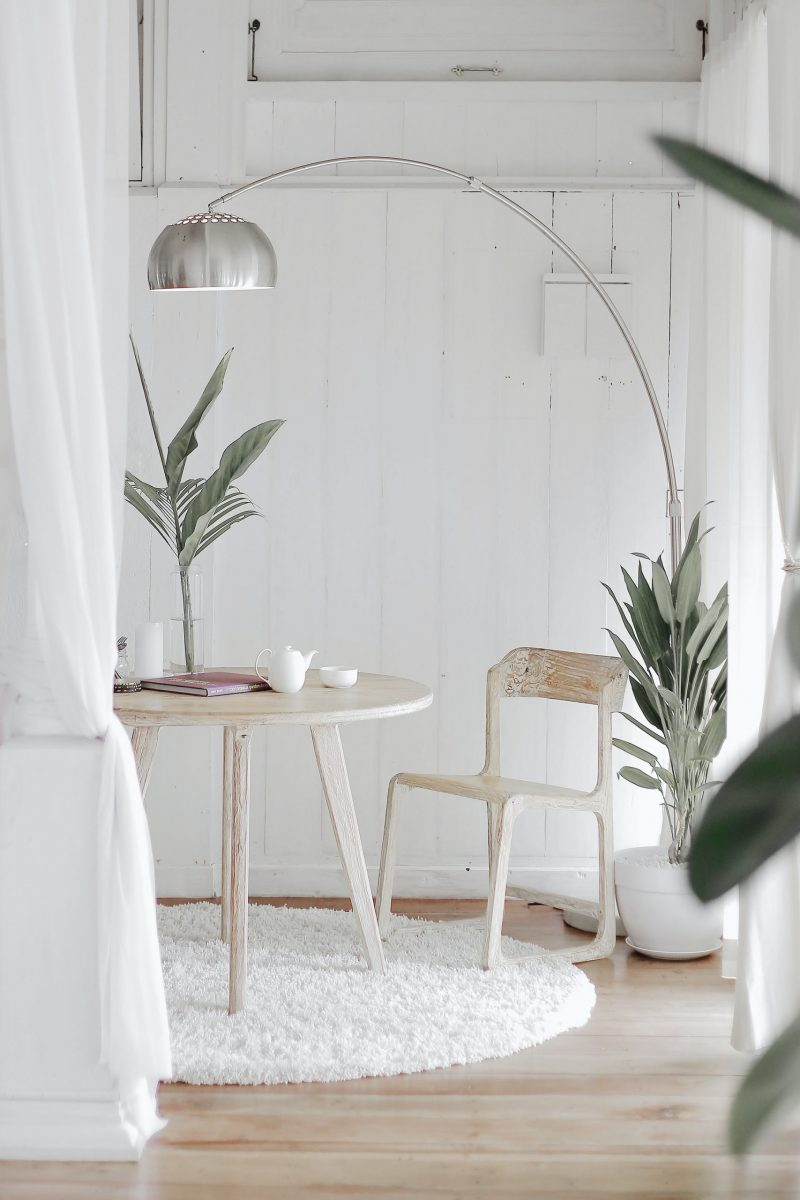 room with chair and lamp minimalist